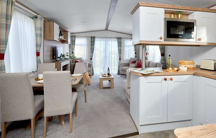 A caravan open plan kitchen and living space