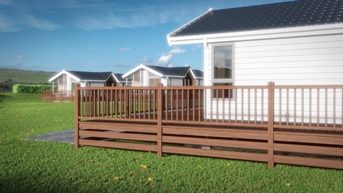 Luxury Lodges for sale Wales, balcony