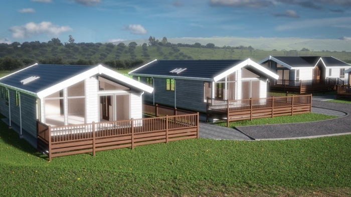 Luxury Lodges for sale Wales, front view